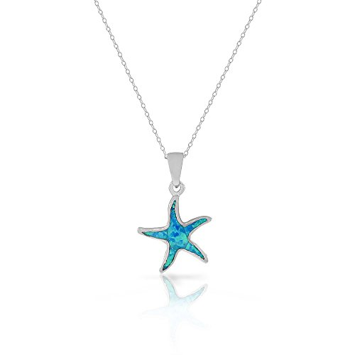 925 Sterling Silver Blue Turquoise-Tone Simulated Opal Starfish Pendant Necklace (Tone Starfish Pendant)