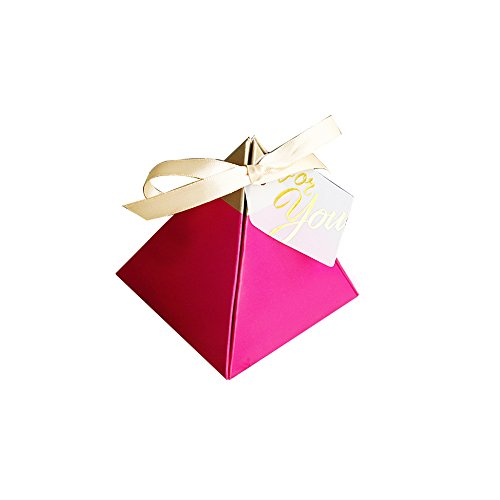 Colias Wing 50 pcs Attractive Pyramid Shape Stylish Design Wedding Birthday Party Favor Candy Boxes with Ribbon-Large-Rose Red