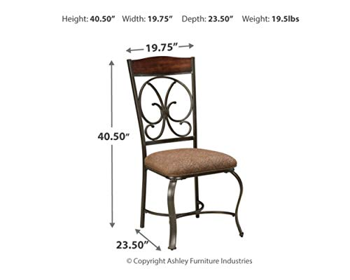 Ashley Furniture Signature Design - Glambrey Dining Room Chair Set - Scrolled Metal Accents - Set of 4 - Brown by Signature Design by Ashley (Image #6)