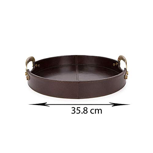 Adamus Large Leather Round Serving Tray, Dark Brown Decorative Tray with Brass Handles, Perfect Tray Size for Coffee Table, Picnic Table, Teapot & Cup ()