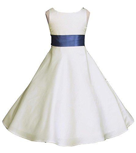 - Prince Lover Wedding Pageant Ivory A-Line Matte Satin Jr. Bridesmaid Flower Girl Dress