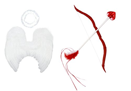 FashionWings (TM) Baby Cupid Pack: White Feather Angel Wings Halo Bow & Arrow (Cupid Baby Costume)
