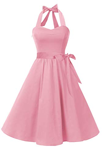 Topdress Women'sVintage Polka Audrey Dress 1950s Halter Retro Cocktail Dress Blush Pink M
