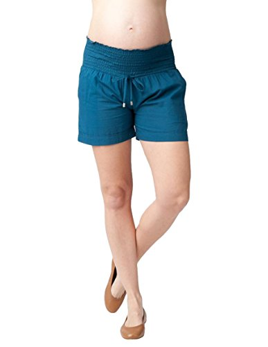 Ripe Maternity Women's Maternity Philly Cotton Shorts with Drawstring, Deep Sea, X-Large by Ripe