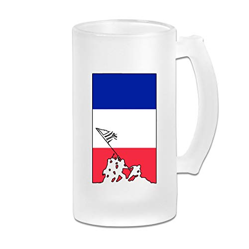 France Flag Veteran Military Army Wine Glasses Cup Tumbler With Handle, 16 OZ / 500 ML Large Pub Beer Glass For Freezer