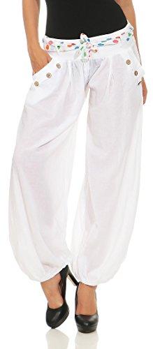 malito Pantaloni alla zuava classico Design Boyfriend Aladin Harem Pantaloni Sbuffo Pantaloni Pump Baggy Yoga 3417 Donna Taglia Unica Bianco