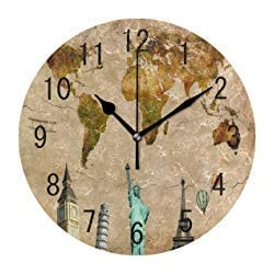 Retro World Map Big Ben Eiffel Tower Round Wood Wall Clock for Home Decor Living Room Kitchen Bedroom Office School
