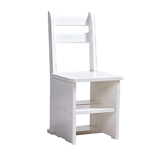 Staircase Stool TH Wood Step Stool Household Fold Ladder Multifunction Stair Chair Indoor Mobile Climb the Ladder Color Optional, 380420850mm (Color : White)