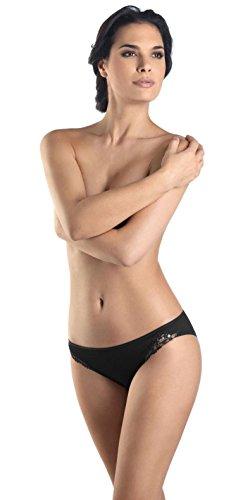 Hanro Women's Delicate Hi-Cut Panty Brief Panty, Black, X-Small