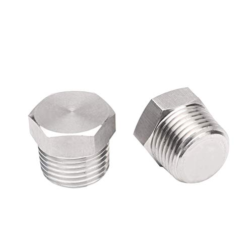 Joyway 2Pcs Stainless Steel Outer Hex Thread Socket Pipe Plug Fitting 3/4 NPT Male