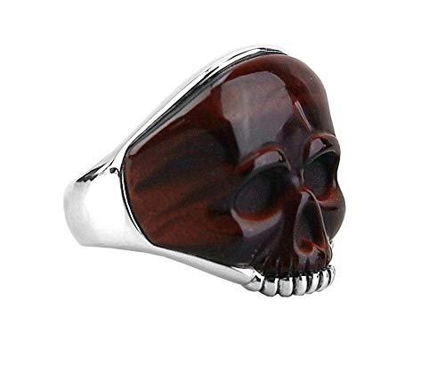 David YURMAN Sterling Silver Carved Skull RED Tiger Eye Ring Size 12 35R