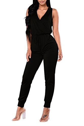 Fixmatti Women Plain Sleeveless V Long Pant Summer Jumpsuit Dress Black XL (Black Long Jumper)