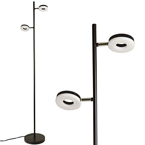 LED Floor Lamp by Light Accents - Saturn LED Standing Lamp - Two Headed Adjustable Modern LED Floor Light - Torchiere for Bedrooms - Bedroom Lamp - Tall Lamp - Corner Lamp