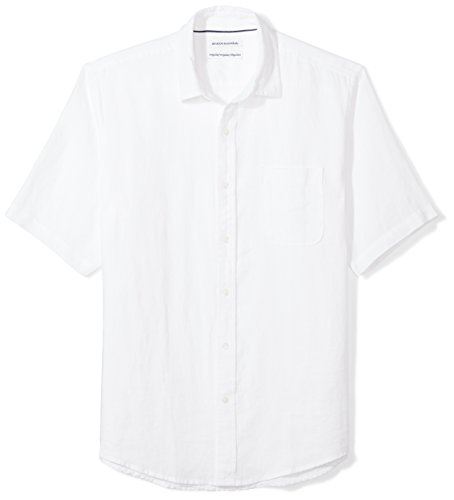 Amazon Essentials Men's Regular-Fit Short-Sleeve Linen Shirt, White, - Plain Mens Shirt Linen