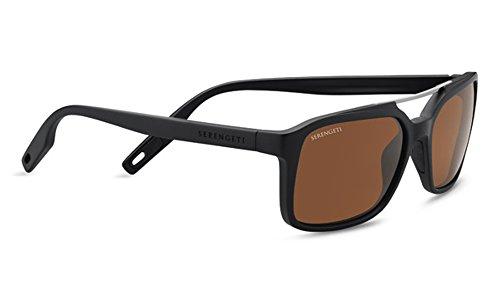 Serengeti Renzo Sunglasses Satin Black/Shiny Dark Gunmetal, Brown by Serengeti