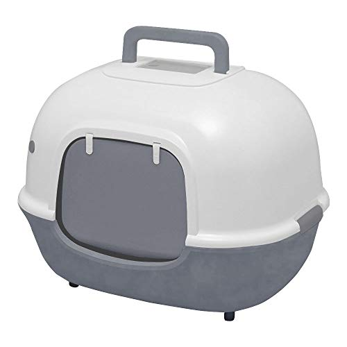 Iris Ohyama cat Toilet with Front Opening and Shovel – Hooded Cat Litter Box – WNT-510, Plastic, Gray, 51 x 40 x 39 cm