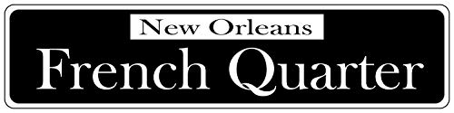 LilithCroft99 French Quarter Black Street Signs Metal Novelty for Yard Home Decor Aluminum Metal Plaque Garage Sign -