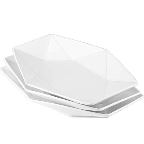 Delling 13.8 inch Geometric Serving Platter, White Serving Plates Large Dinner Salad Plates Dishes Set for Meat…
