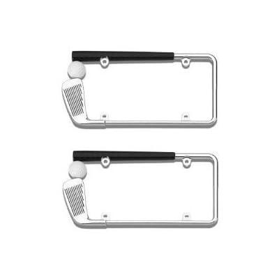 Golf Club/Ball Chrome License Plate Frame 2 Pack No Caps: Automotive