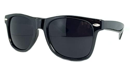 Retro Optix Sunglasses Classic 80's Vintage Style Design (Black Gloss/Super Dark)