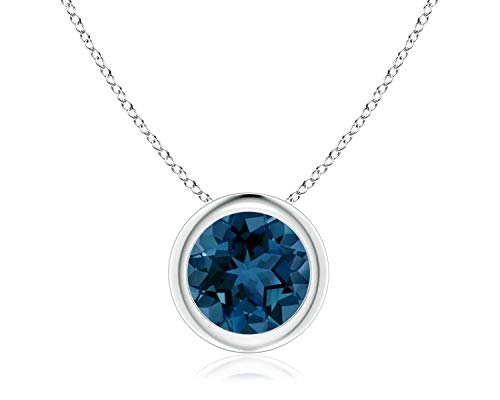 Bezel Set London Blue Topaz Pendant Necklace in 14k White Gold (7mm),