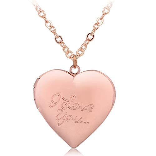 Photo Locket Necklace That Holds 2 Pictures I Love You Heart Pendant for Girls Rose Gold Plated