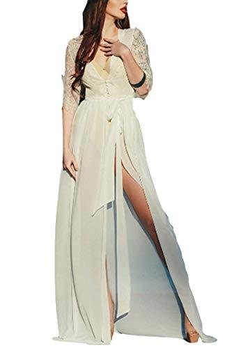 (Women Kimono Maxi Dresses Chiffon Lace Kimono Cardigan with Belt Floor Length (One Size,)