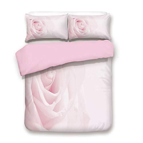 Pink Duvet Cover Set,Queen Size,Pink Rose Close Up with Soft Blur Focus Fresh Fragile Fragrance Smell Valentines Day Decorative,Decorative 3 Piece Bedding Set with 2 Pillow Sham,Best Gift For Girls Wo