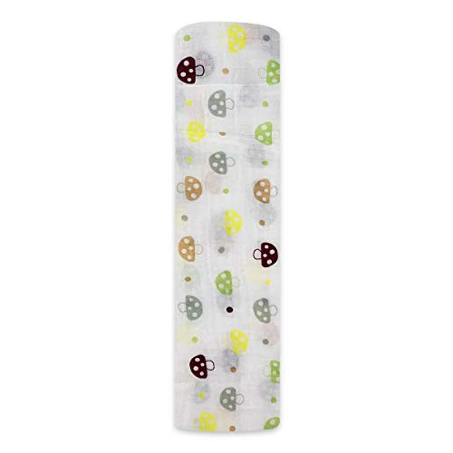 Boy and Girl 100% Cotton Swaddle Blanket, Cute Baby Bamboo Muslin Blankets for Large Size 47 x 47 inches (Mushroom)