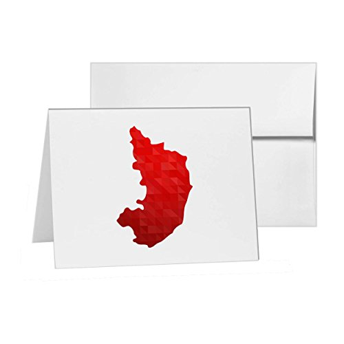 Karnataka Geography India Location Map, Blank Card Invitation Pack, 15 cards at 4x6, Blank with White Envelopes Style - India Locations Of Styles