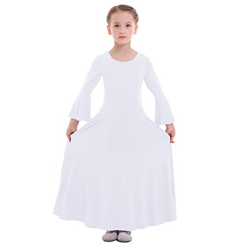 FYMNSI Kid Big Girls Long Bell Sleeve Liturgical Worship Costume Full Length Loose Fit Pleated Praise Dance Dress White 11-12 T