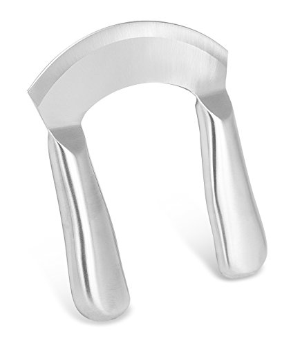 Internet's Best Stainless Steel Mezzaluna Knife | 5 Inch Blade | Mincing Rocking Vegetable Chopper | Cook Chef Slicing Utensil (Steel Mezzaluna Stainless)
