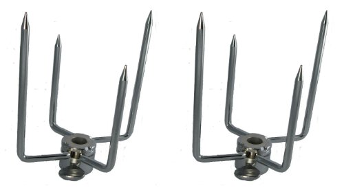 OneGrill Chrome Grill Rotisserie Spit Forks--Fits 5/16 Inch Square Spit Rod