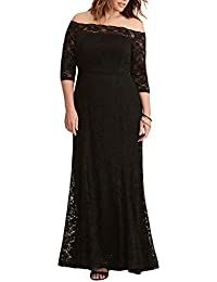 Womens Plus Size Lace Off Shoulder Wedding Evening Party Maxi Dress Gown