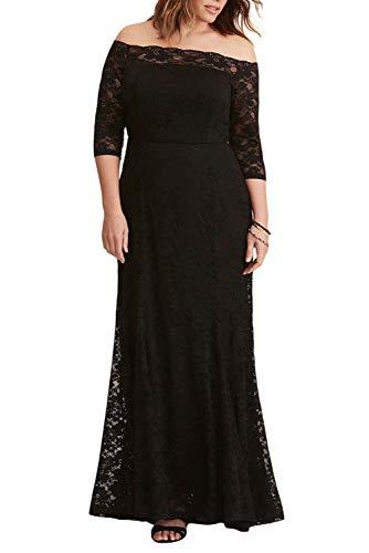97817d8d9dc FUSENFENG Womens Plus Size Lace Off Shoulder Wedding Evening Party Maxi  Dress Gown