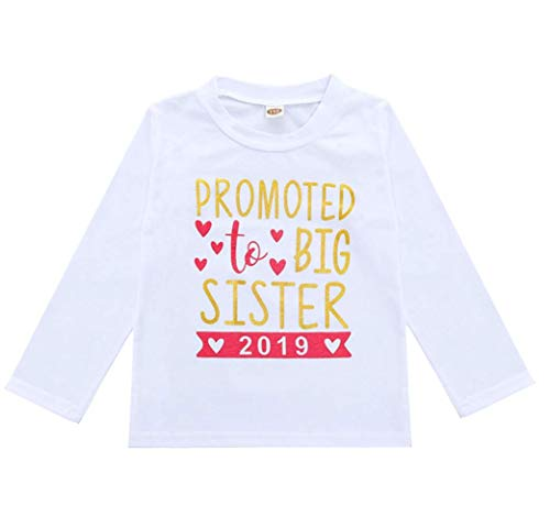 (2018 Baby Girl Clothes Outfit Big Sister Letter Print T-Shirt Top Blouse Shirts (White03, 2-3 Years))