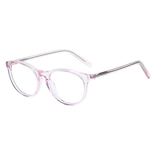 Kids Glasses Eyewear Frame for Teens Children Boys Girls with Oval Clear Lens Crystal Pink(Age 5-12)