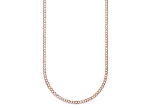 - Pori Jewelers 10K Gold 3.5MM Hollow Curb/Cuban Chain Bracelet and Necklace-Made in Italy- Yellow White Or Rose Gold (Rose, 18)