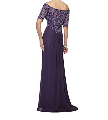 Perlen Blau Brautmutterkleider Dunkel Schulterfrei Langarm Abendkleider mit Pailletten Charmant Festlichkleider Hochwertig Damen pqPWw81