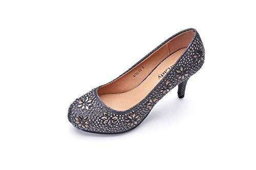 Mila Lady MAYRA05 Princess Sparkle Crystal Gem Rhinestone Glitter Formal Pumps, Wedding Shoes Evening Dress Heels for Women Grey 7.0