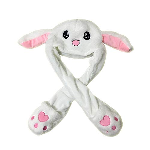 vable Hat - Cute Trendy Animal Bunny White Moving Ear Flapping and Jumping Plush Head Wear for Adult Women and Men, Kids, Children, Girls, Boys Costume, Birthday Party,Event ()