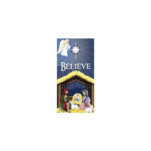 6 nativity scene believe door banner
