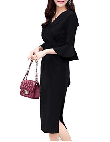 BolanVerl ブラックフォーマル ワンピース Vネック ストライプ 柄 ブラック 黒 フリル 袖 スリット入り 切り替え 卒園式 ドレス 発表会 礼服 フォーマルスーツ 女性
