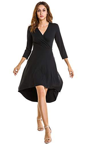 LANOU Womens Faux Wrap V Neck Jersey Casual Midi Dresses for Women Work (Small, Black 1)