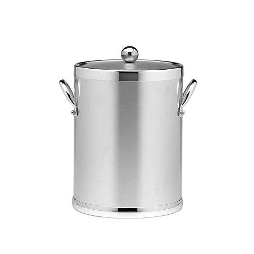 Kraftware Grant Signature Home Polished Chrome Ice Bucket, 5 quart, (5 Quart Metal Ice Bucket)