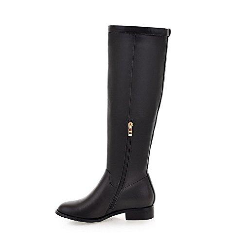 VogueZone009 Damen Eingelegt Hoher Absatz Rund Zehe PU Leder Stiefel mit Metalldekoration, Grau, 42
