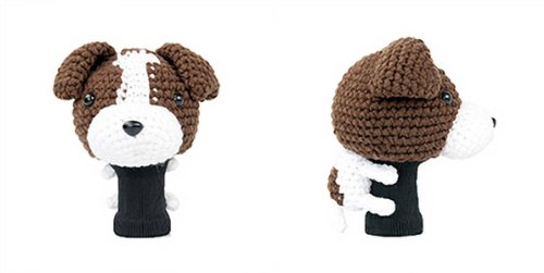 Terrier Jack Russell Clubs - Amimono Jack Russell Terrier Driver Golf Head Cover, Dark Brown/White, 460cc