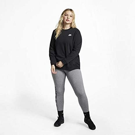 Nike Club Crew FLC Plus, Felpa Donna, BlackWhite, 1X