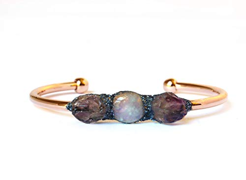 Boho Raw Crystal Gemstone Birthstones Amethyst and Moonstone Bracelet Jewelry