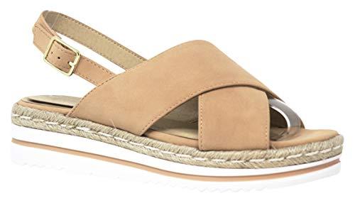MVE Shoes Women's Criss Cross Strappy Flatform Sandals, Gloria Nude 6 (Cross Shoes Strap)